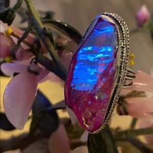 Vintage 925  rough aura ring